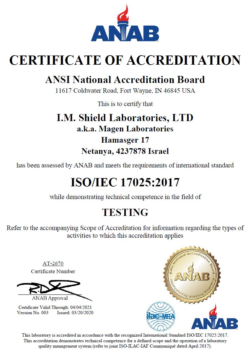 ISO/IEC 17025:2017 Accreditation